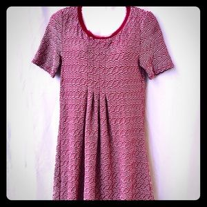 Anthropologie Short Sleeve Red & White Dress,Small